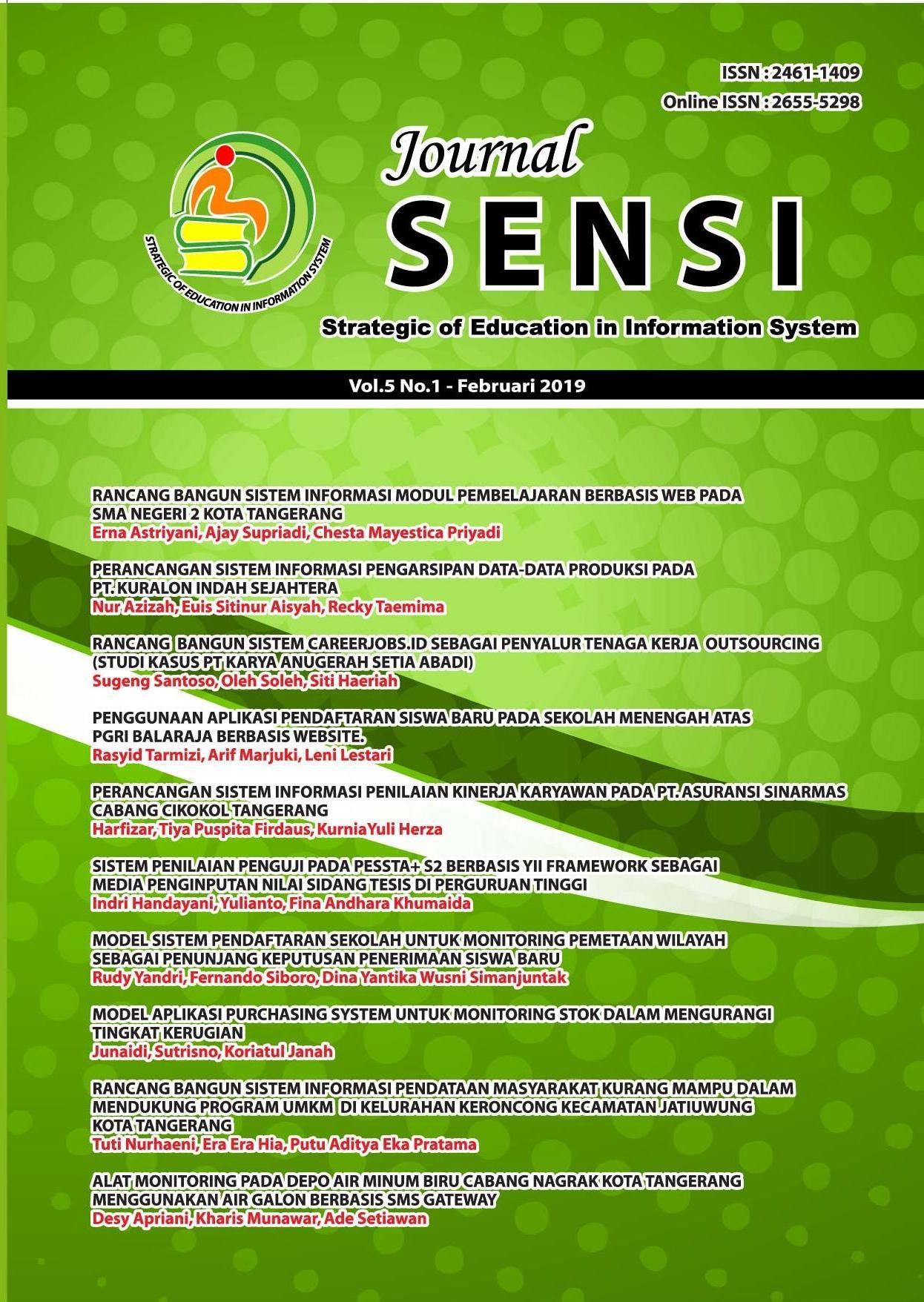 SENSI JOURNAL VOL.5 NO.1 Februari 2019